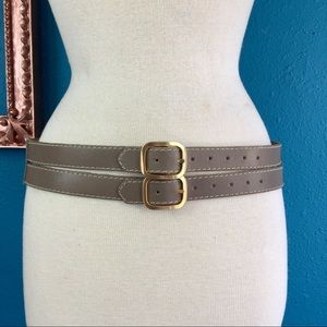 Vtg double buckle tan taupe leather belt M
